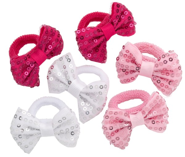 Girls pack of 6 bow sequin hair ponios-0