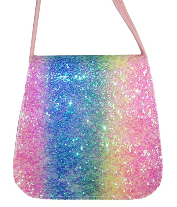 Girls sparkly rainbow glitter bag and accessories set-6104