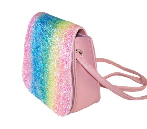 Girls sparkly rainbow glitter small bag