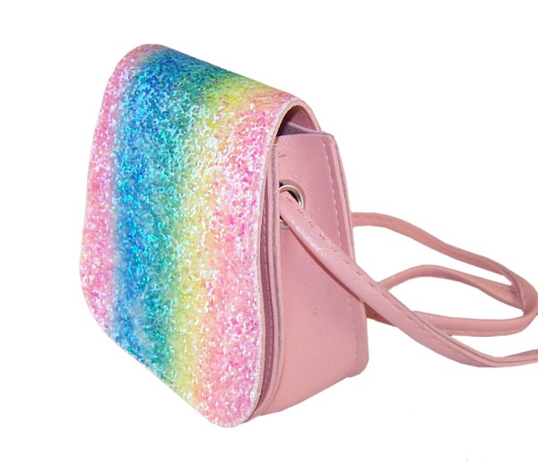 Girls sparkly rainbow glitter small bag-0