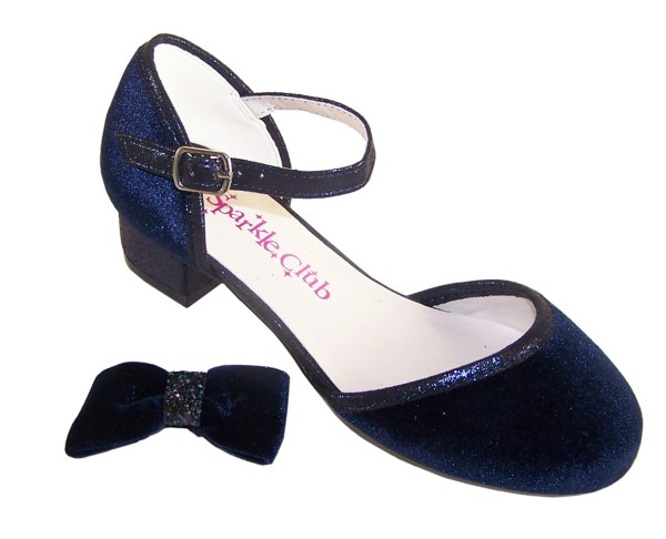 Girls dark blue velvet sparkly low heeled party shoes - Gift Set-6187
