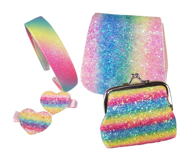 Girls sparkly rainbow glitter bag and accessories set-0