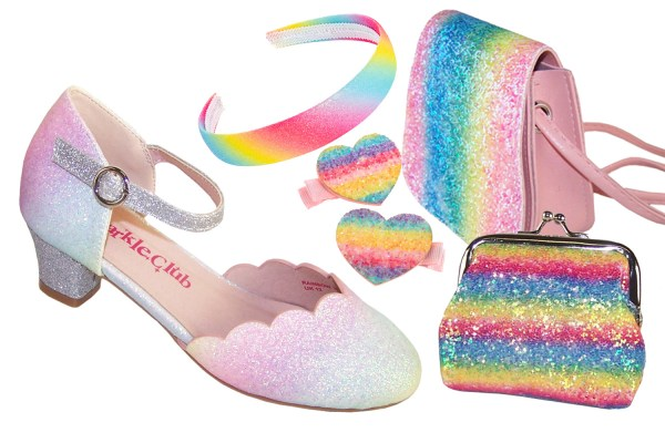 Girls pastel rainbow colours sparkly shoes - Gift Set -0