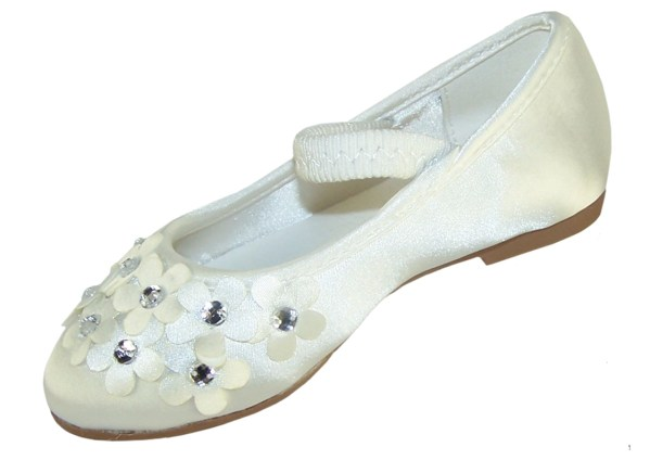 Ivory satin young flower girl and bridesmaid ballerina shoes-6272