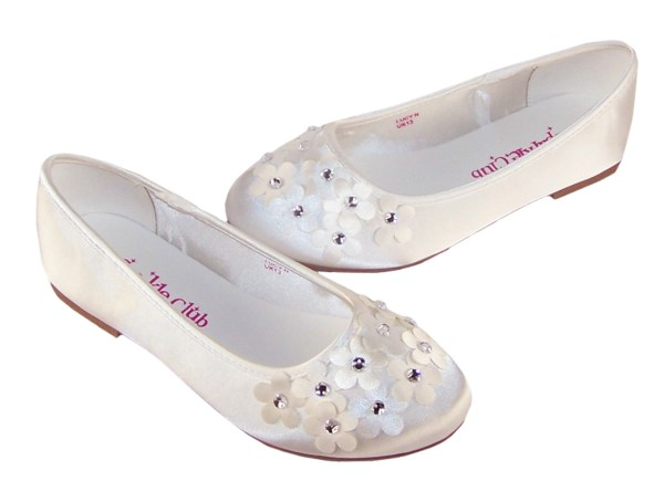 Ivory satin flower girl and bridesmaid ballerina shoes-6265