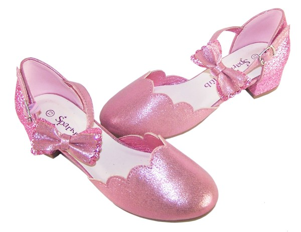 Girls pink sparkly glitter heeled party shoes-6411
