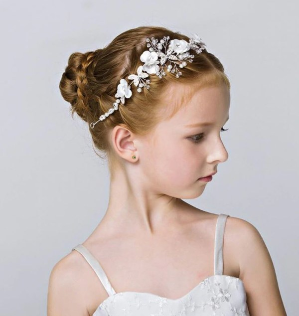Girls white and silver sparkly headband-6390