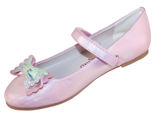 Girls pale pink sparkly ballerina party shoes-6437