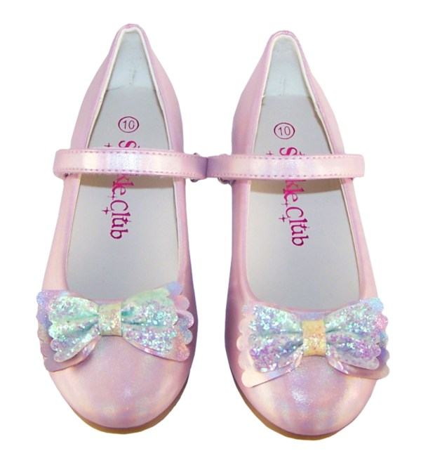 Girls pale pink sparkly ballerina party shoes-6438