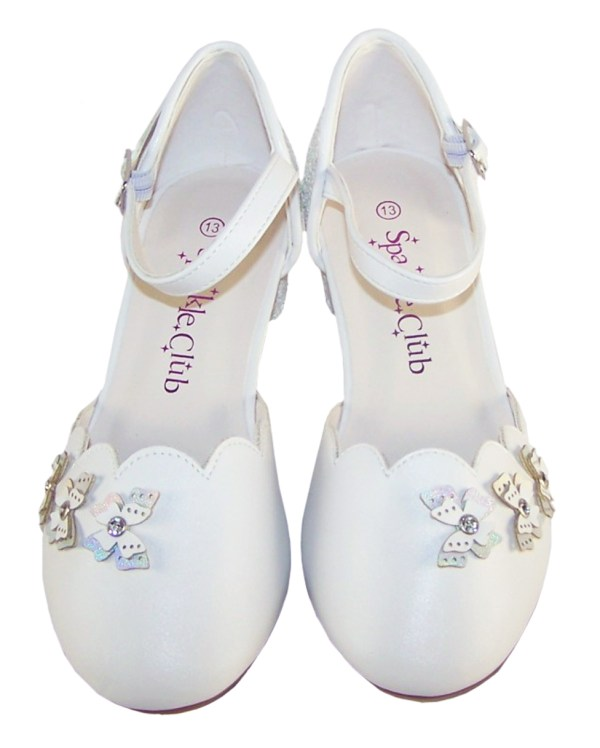 Girls white low heeled sparkly bridesmaid shoes-6422
