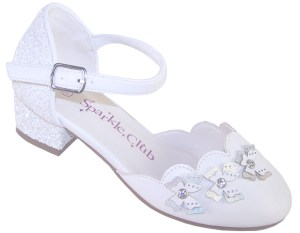 Girls white low heeled sparkly bridesmaid shoes