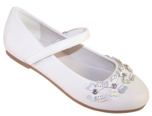 Girls white flower girl ballerinas with butterfly trims