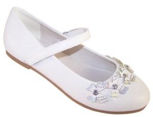 Girls white flower girl ballerinas with butterfly trims