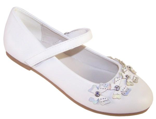 Girls white flower girl ballerinas with butterfly trims-0