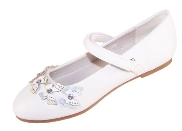 Girls white flower girl ballerinas with butterfly trims-6399