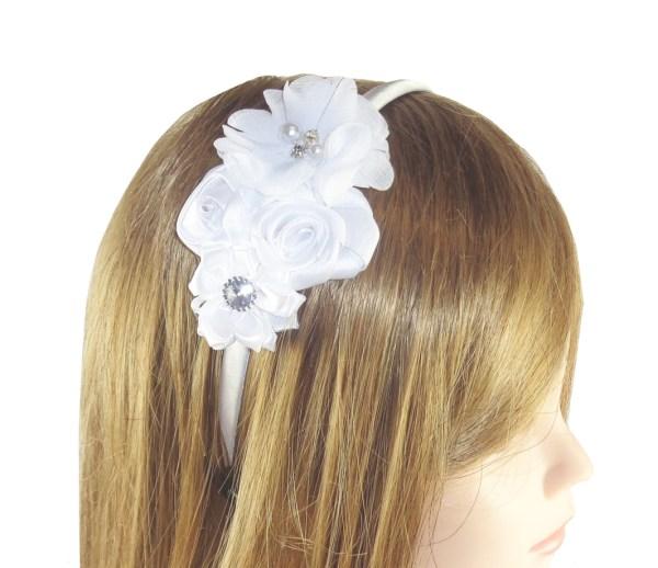 Girls white satin flower headband-6458
