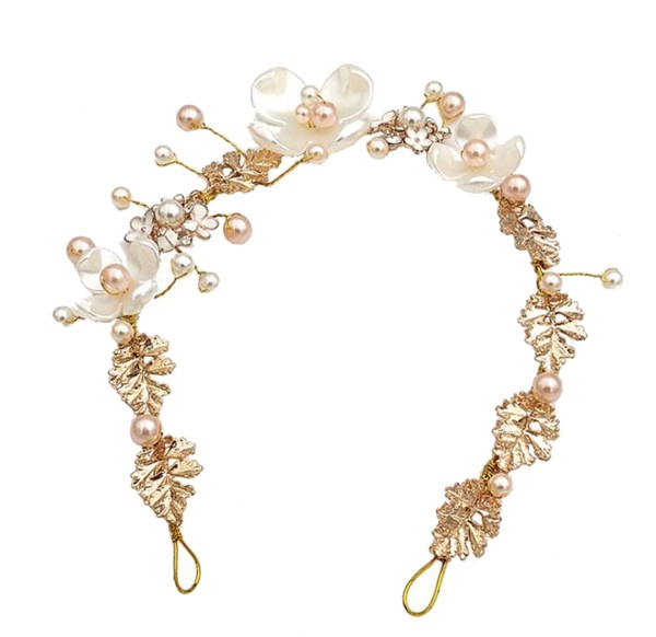 Girls ivory, peach and silver sparkly headband-6450