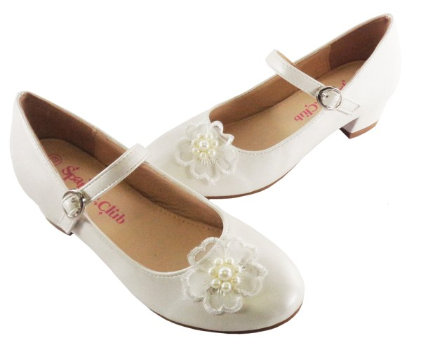 Girls ivory low heeled bridesmaid shoes with flower trim-6479