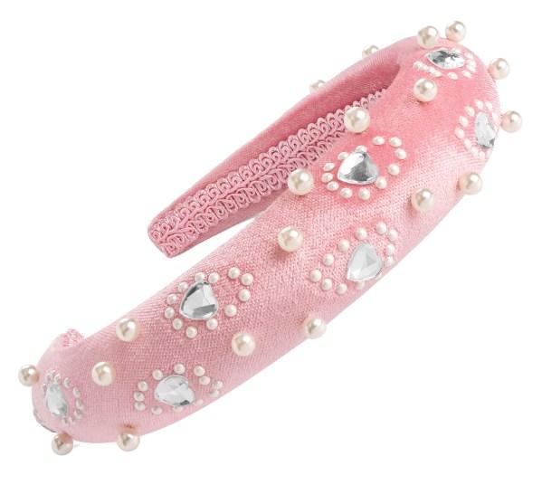 Girls pink velvet look sparkly headband-0