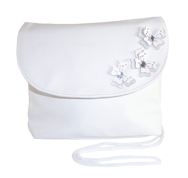 Girls white flower girl ballerinas and bag with butterfly trims-6505