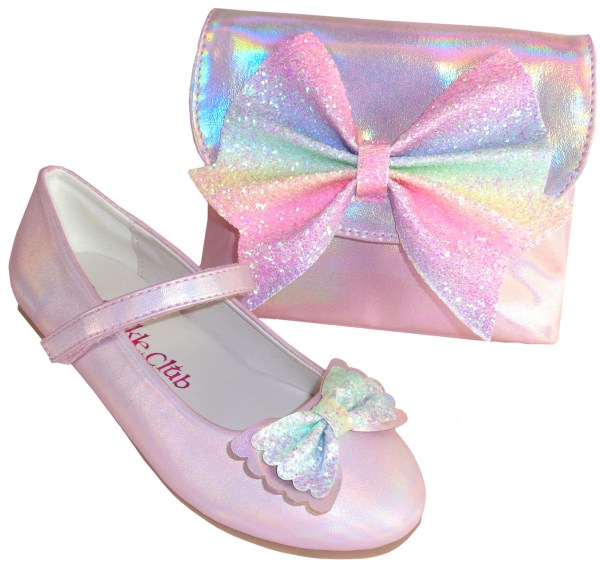 Pale pink sparkly ballerina party shoes and matching bag -0