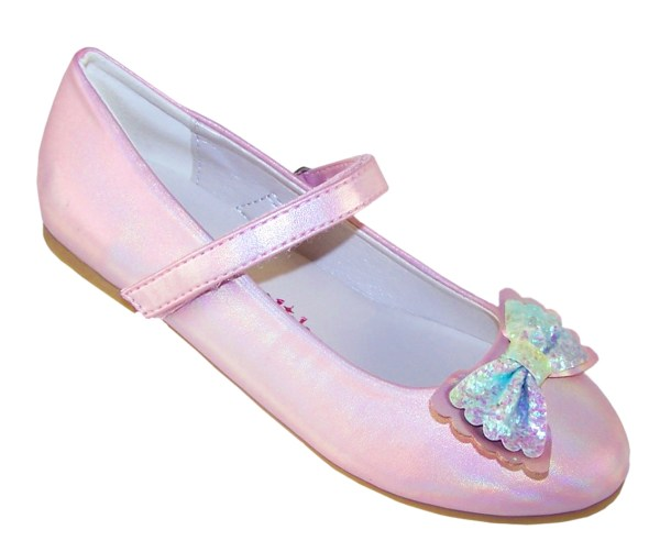 Pale pink sparkly ballerina party shoes and matching bag -6494