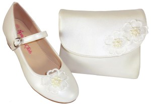 Girls ivory low heeled bridesmaid shoes and bag with flower trim