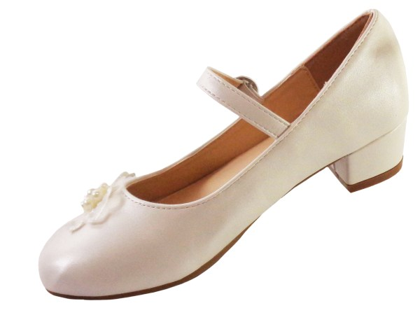 Girls ivory low heeled bridesmaid shoes and bag with flower trim-6543