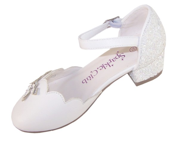 Girls white low heeled sparkly bridesmaid shoes and bag-6514