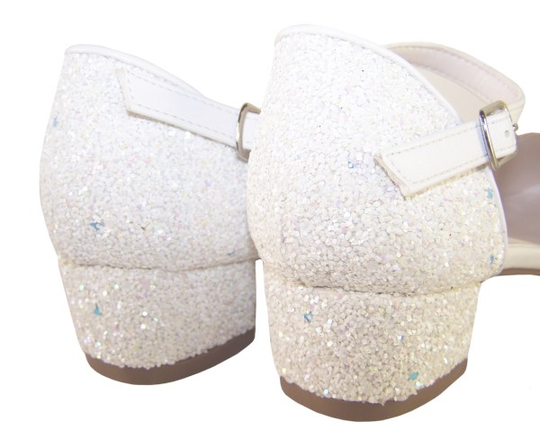 Girls white low heeled sparkly bridesmaid shoes and bag-6515