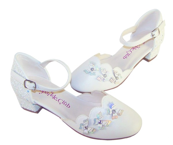Girls white low heeled sparkly bridesmaid shoes and bag-6513