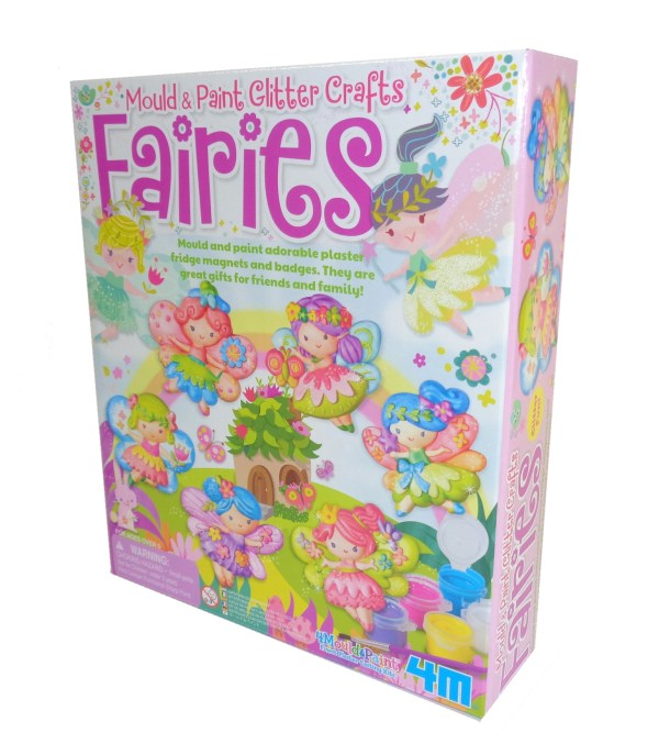 Childs mould and paint glitter fairies craft kit-0