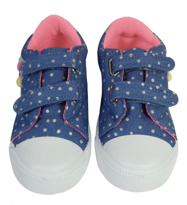 Young girls blue and rainbow sparkly trainers-6622