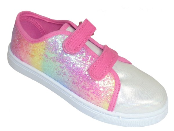 Girls pink rainbow sparkly glitter trainers-0