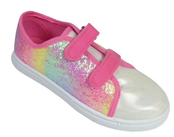 Girls pink rainbow sparkly glitter trainers-6626
