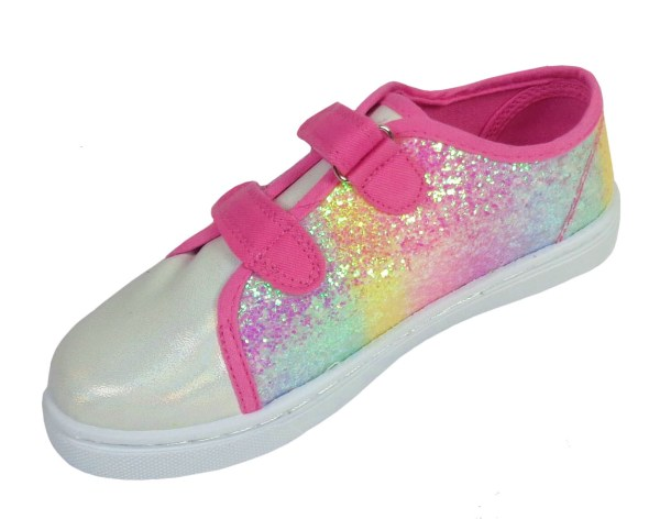Girls pink rainbow sparkly glitter trainers-6628
