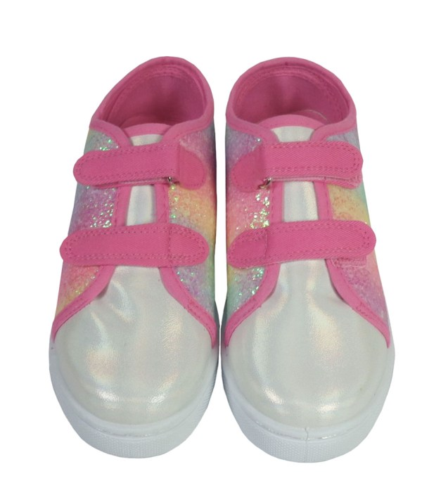 Girls pink rainbow sparkly glitter trainers-6627