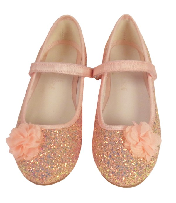 Girls pink peach sparkly glitter ballerina party shoes-6615