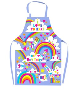 Childrens PVC coated rainbow design apron