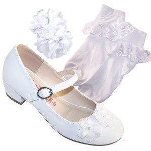 Girls white low heeled shoes, socks and hair clip set