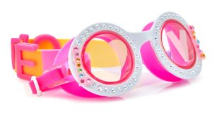 Girls fun round shaped white swimming goggles with jems
