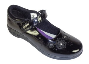 Girls black patent PU Frozen school shoes