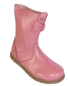 Young girls pink leather calf length boots
