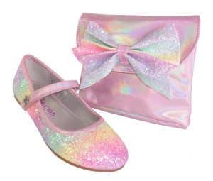 Girls pink rainbow glitter ballerina shoes with matching bag