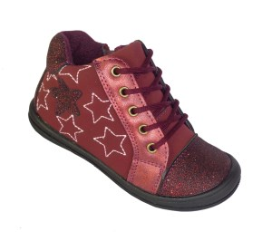 Infant girls dark red sparkly ankle boots