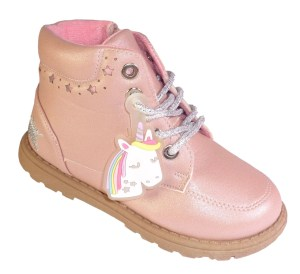 Young girls pink Unicorn ankle boots