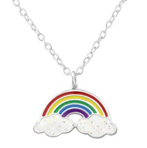 Girls sterling silver and epoxy colourful rainbow necklace