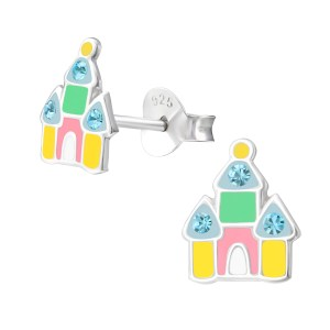 Girls colourful crystal and epoxy castle earrings