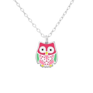 Girls sterling silver and epoxy colourful owl necklace