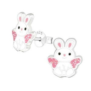 Girls sterling silver and epoxy bunny stud earrings